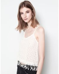 Pull&Bear Fringed Crochet Top - Lyst