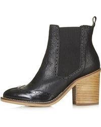 Topshop Maine Brogue Chelsea Boots  Black - Lyst