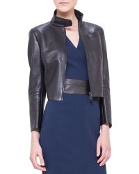 Akris Asymmetric-cut Back Leather Jacket - Lyst
