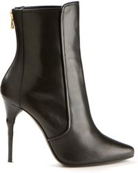 Balmain Black Leather Ankle Boots - Lyst