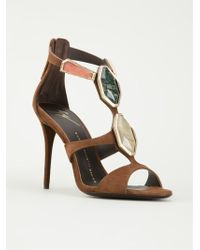 Giuseppe Zanotti Faceted Stone Sandals - Lyst