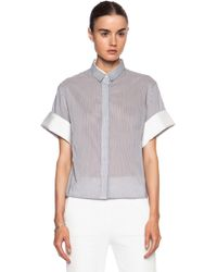 3.1 Phillip Lim Cotton-blend Twill Combo Boxy Top - Lyst
