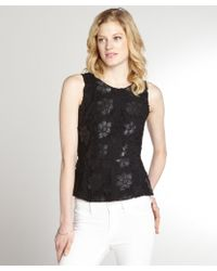 Greylin Black Stretch Faux Leather Floral Lace Accent Sleeveless Peplum Top - Lyst