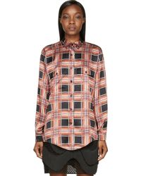 Rodarte Rust and Black Plaid Silk Blouse - Lyst