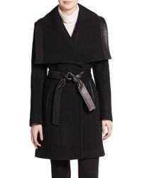 Elie Tahari Marina Leather-Trimmed Wool Coat - Lyst