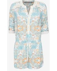 Twelfth Street Cynthia Vincent Exclusive Lace Trim Print Romper blue - Lyst