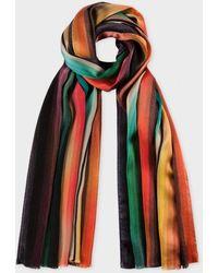 Paul Smith 'Mainline Rainbow' Silk Scarf - Lyst