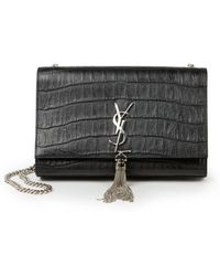 Saint Laurent Monogramme Medium Crocodile-Embossed Tassel Shoulder Bag - Lyst