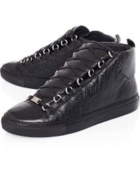 Balenciaga Black Arena Crackle Leather High-Top Trainers - Lyst