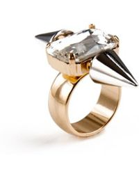 Noir Jewelry Spike Crystal Highlight Ring - Lyst
