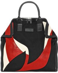 Alexander McQueen Red Abstract Print Leather De Manta Tote - Lyst