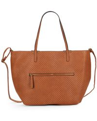 Saks Fifth Avenue   Perforated Faux Leather Tote & Crossbody Set   Lyst