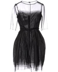 Lanvin Short-Sleeves Sheer-Silk Dress - Lyst