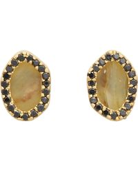 Monique Péan Black Diamond Opal Oyster Gold Studs - Lyst