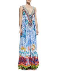 Camilla Long V-Neck Printed Dress - Lyst