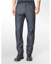 Calvin Klein Straight Fit Textured Cotton Dobby Pants - Lyst