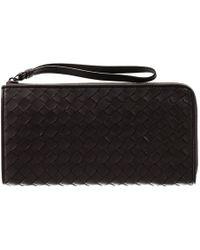 Bottega Veneta Wallet Long Zip Intrecciato black - Lyst