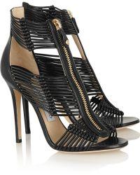 Jimmy Choo Black Leather Sandals - Lyst