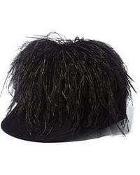 Lanvin Womens Fur Felt Feathered Cap - Lyst