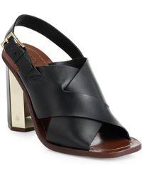 Tory Burch Bleecker Metallic Block-Heeled Sandals black - Lyst