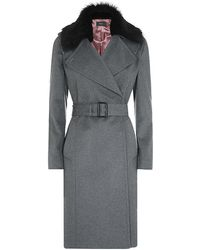 Paul Smith Black Label - Shearling Collar Trench Coat - Lyst