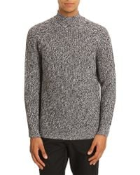 Carven Black And White Stitch Funnel-Neck Sweater - Lyst