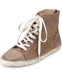 Frye Kira Studded High-Top Sneaker gray - Lyst