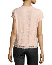 Nikkies Threads - Lace-back Half-zip Cap-sleeve Blouse - Lyst