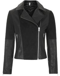 Topshop Leather And Suede Panel Biker Jacket - Lyst