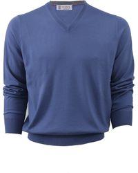 Brunello Cucinelli V-Neck Fine Guage Sweater blue - Lyst