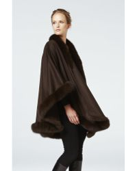 Sofia Cashmere Pure Cashmere Oversize Wrap Cape Trimmed With Real Dyed Fox brown - Lyst