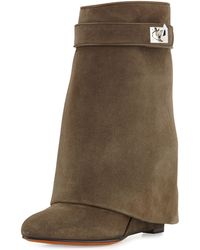 Givenchy Suede Sharklock Foldover Ankle Boot - Lyst