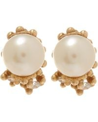 Ruth Tomlinson - White Gold Pearl Encrusted Stud Earrings - Lyst