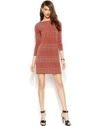 Michael Kors Michael Striped Houndstooth Shift - Lyst