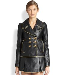Marc Jacobs Metallic-piped Leather Jacket - Lyst