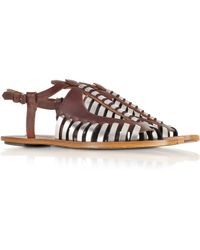 Proenza Schouler Brown Woven Leather Flat Sandal - Lyst