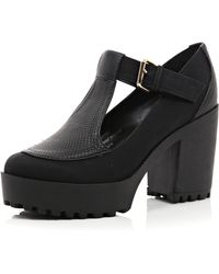 River Island Black Chunky Sole Buckle Shoes - Lyst