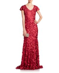 Theia Petal-Applique Satin Gown red - Lyst