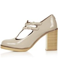 Topshop Gess Patent Buckle Shoes - Lyst