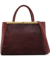 Halston Heritage Large Leather and Calf Hair Satchel - Lyst