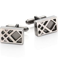 Burberry | Brass & Enamel Rectangular Check Cuff Links | Lyst