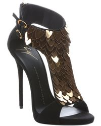 Giuseppe Zanotti Black Suede 'Coline' Scale Embellished T-Strap Sandals - Lyst