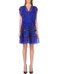 Jean Paul Gaultier Zipdetail Silkchiffon Dress Blue - Lyst