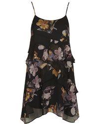 Topshop Floral Print Ruffle Slip Dress - Lyst