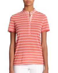 Tory Burch Lidia Patterned Polo Shirt white - Lyst