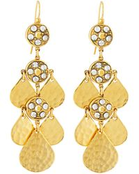 Jose & Maria Barrera Crystal Teardrop Chandelier Earrings gold - Lyst