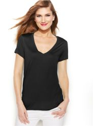 Michael Kors Michael V-Neck Short-Sleeve High-Low Hem Top - Lyst