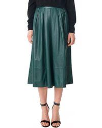 Tibi Leather Full Skirt - Lyst