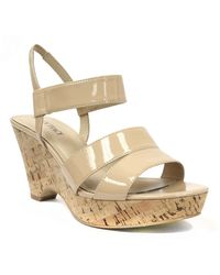 Ellen Tracy - Flip Patent Leather Wedge Sandals - Lyst