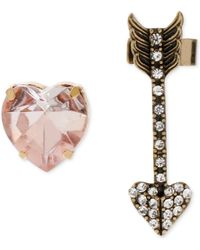 Betsey Johnson Gold-tone Pink Crystal Stud and Arrow Cuff Earring Set - Lyst